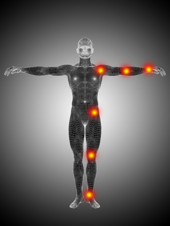 Conceptual wireframe human or man anatomy body with joint pain Banco de Imagens - 35451008