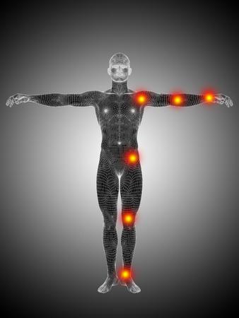 Wireframe humano conceptual o cuerpo Anatomía del hombre con dolor en las articulaciones