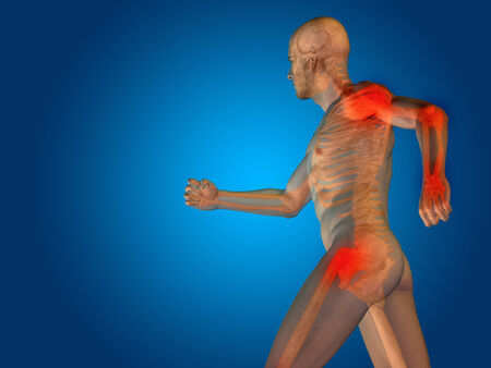 Conceptual human body anatomy articular pain on blue background photo