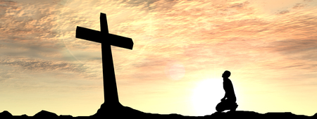 Conceptual religion black cross with a man praying at sunset banner photo