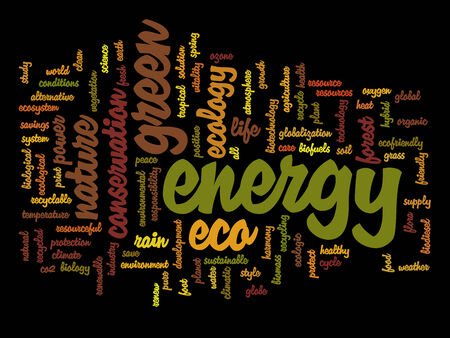 energy conservation: Conceptual ecology word cloud concept