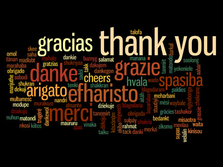 Conceptual thank you word cloud isolated for business or Thanksgiving Day photo