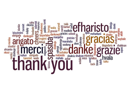 Konzeptionelle danke Wort-Wolke für Business oder Thanksgiving Day isoliert Standard-Bild - 35452871