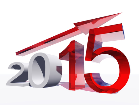 year increase: Conceptual 2015 year with an arrow isolated on white background