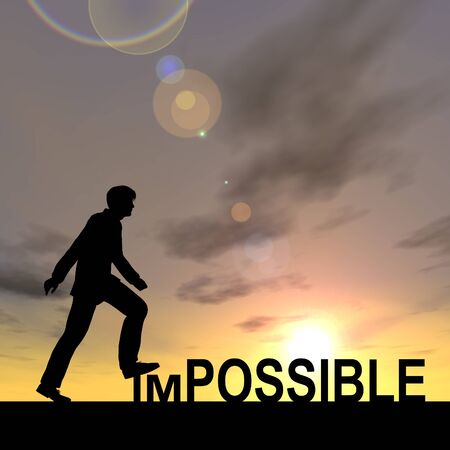 Conceptual impossible text concept with a man at sunset