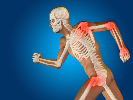 human hip: Conceptual human body anatomy articular pain on blue background