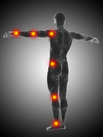 Conceptual wireframe human or man anatomy body with joint pain Banco de Imagens - 35622321