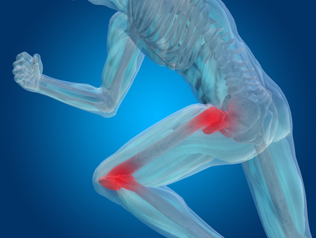 Conceptuele menselijk lichaam anatomie articulaire pijn op blauwe achtergrond