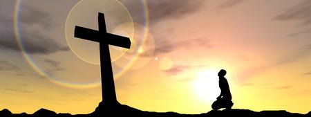 Conceptuele religie zwart kruis met een man, die bidt bij zonsondergang banner