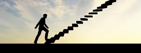 Konzeptionelle Geschäftsmann Klettern eine Treppe über Himmel bei Sonnenuntergang Hintergrund Banner Standard-Bild - 35765215