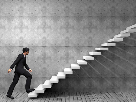 career: Conceptual business man climbing a stair over a wall and floor