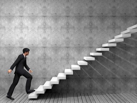 metas: Hombre de negocios conceptual subir una escalera sobre una pared y el piso