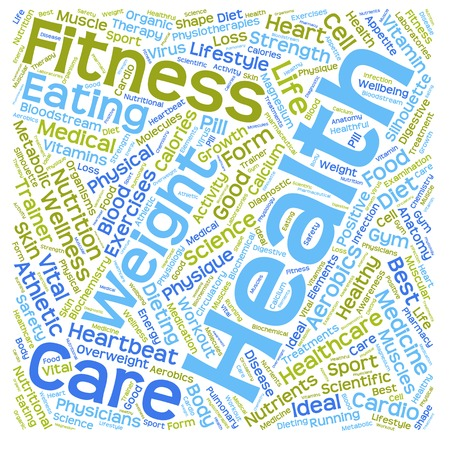 Conceptual health, diet or nutrition word cloud isolated on background