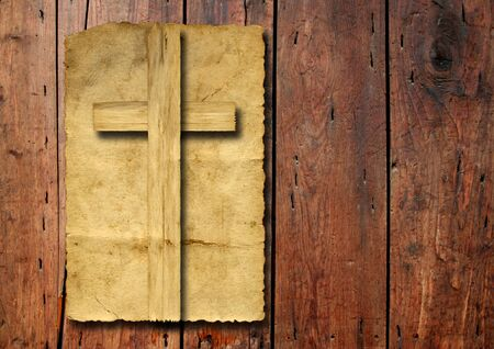 christian: Old vintage Christian paper cross over wood wall background Stock Photo