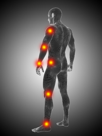 Conceptual wireframe human or man anatomy body with joint pain Stock Photo
