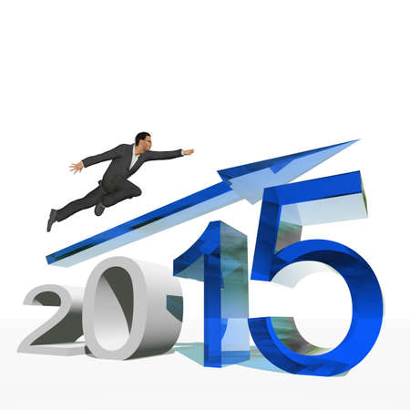 holiday profits: Conceptual 2015 year with an arrow and a business man isolated on white Stock Photo