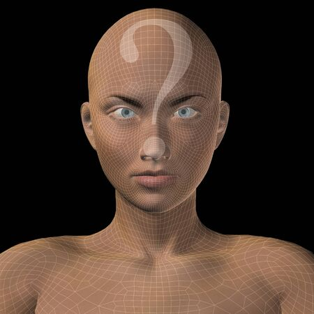Conceptual witreframe or mesh woman face with a question mark photo