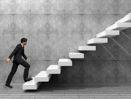 stairs: Conceptual business man climbing a stair over a wall and floor
