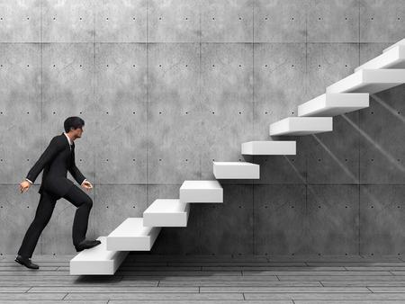 escalada: Hombre de negocios conceptual subir una escalera sobre una pared y el piso