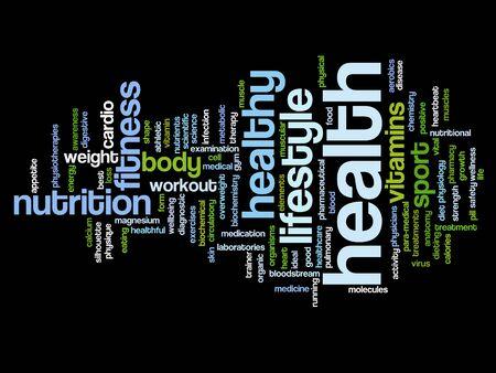 nutrici�n: Salud de la palabra conceptual concepto de nube Foto de archivo