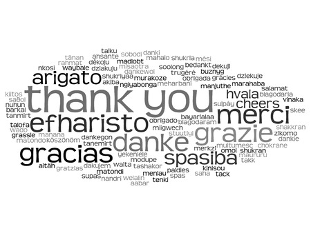 multilingual: Conceptual thank you word cloud isolated for business or Thanksgiving Day