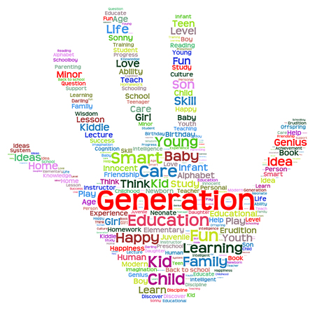 neonate: Conceptual child education abstract hand print word cloud isolated on white background