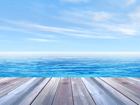 pier: Concept or conceptual wood deck over blue sea and sky