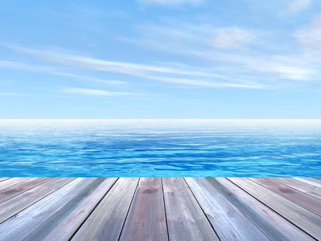 türkis: Konzept oder konzeptionelle Holzdeck über blauen Himmel und Meer