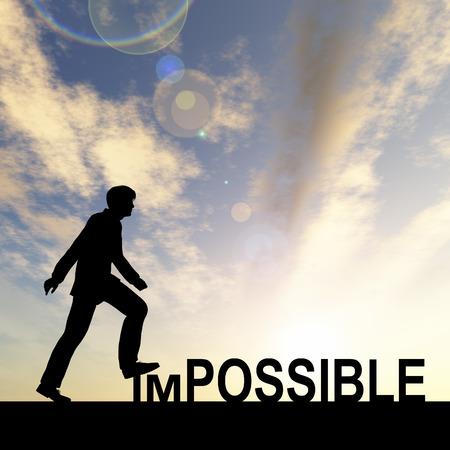 概念の不可能なテキストの概念は日没で男と 写真素材