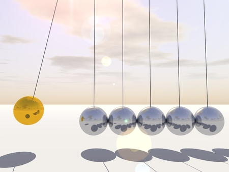 swaying: Concept or conceptual 3D silver and gold sphere pendulum over sky background