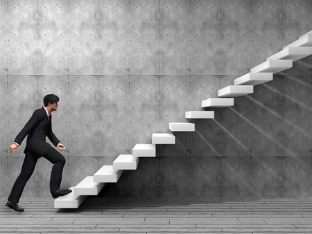 achievement concept: Conceptual business man climbing a stair over a wall and floor