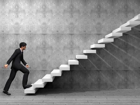 Conceptuele business man klimmen een trap over een muur en vloer