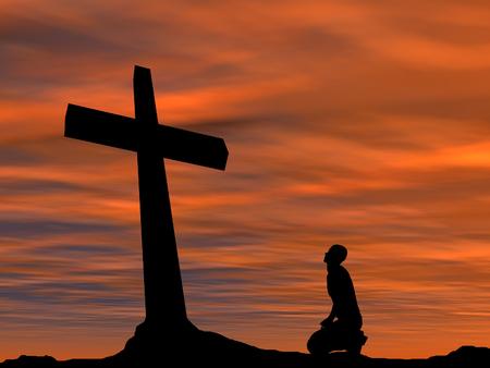Conceptuele religie zwart kruis met een man, die bidt bij zonsondergang