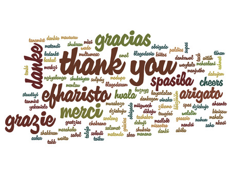 japanese background: Conceptual thank you word cloud isolated for business or Thanksgiving Day