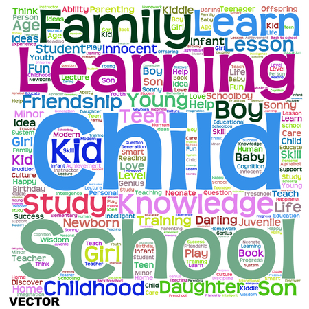 family isolated: Vector concept or conceptual child education or family abstract word cloud isolated on white background