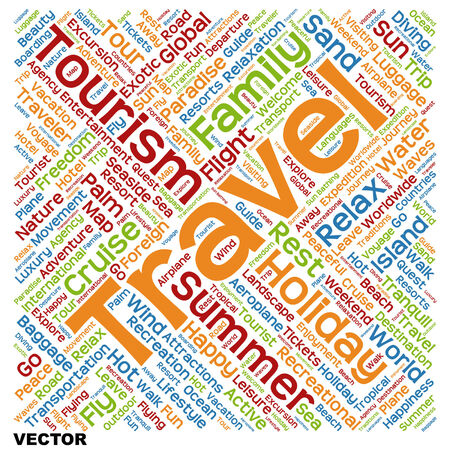 Conceptual travel or tourism word cloud isolated on background