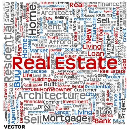 housing estate: Conceptual real estate or housing word cloud isolated on background