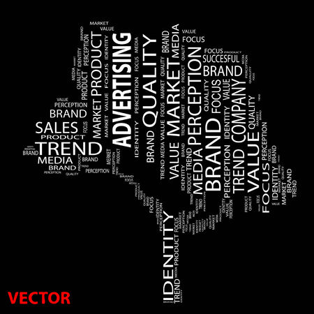 Conceptual media or business tree word cloud background