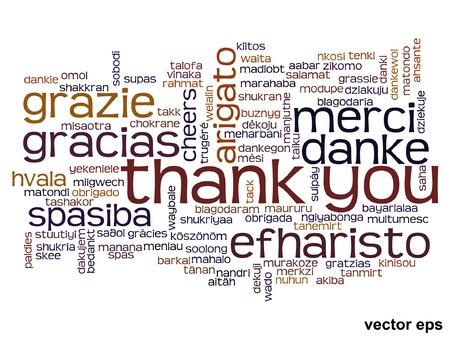 Vector conceptuele bedankt woord wolk geïsoleerd voor zaken of Thanksgiving Day