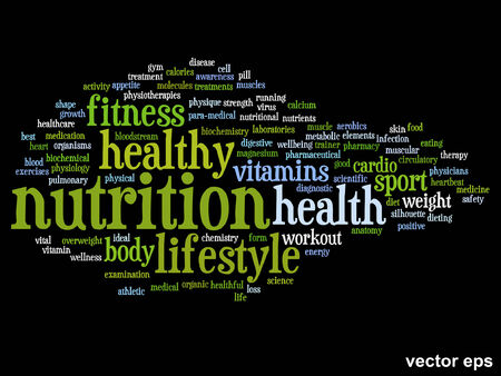 physique: Conceptual health or diet or nutrition word cloud concept isolated on background Illustration