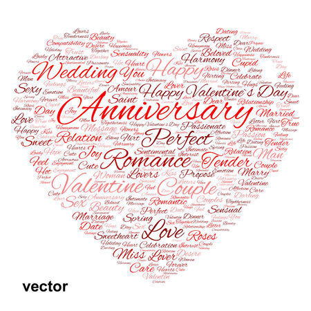Conceptual love or Valentine heart shape word cloud isoalted on white Vector