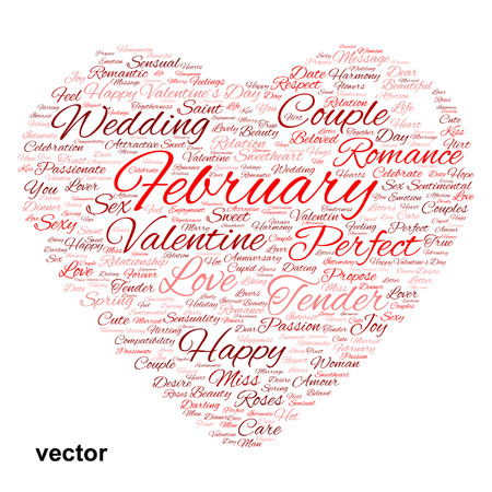 liking: Conceptual love or Valentine heart shape word cloud isoalted on white