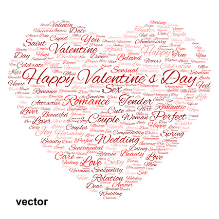 Conceptual love or Valentine heart shape word cloud isolated on white Vector