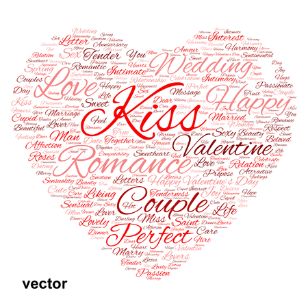 feel affection: Conceptual love or Valentine heart shape word cloud isolated on white