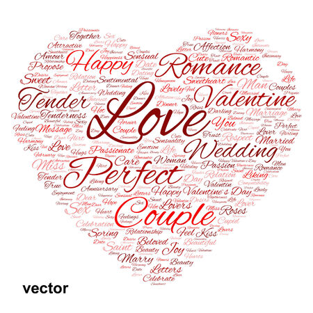 liking: Conceptual love or Valentine heart shape word cloud isolated on white