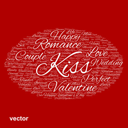 feel affection: Conceptual Love, Valentine or valentine`s Day wedding word cloud