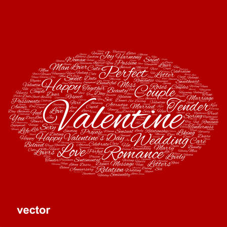 Conceptual Love, Valentine or valentine`s Day wedding word cloud Vector