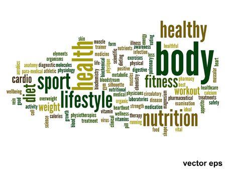 physique: conceptual health word cloud concept Illustration