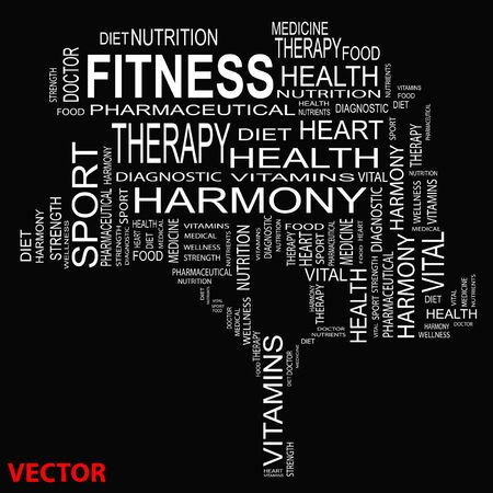 physique: Conceptual health tree word cloud background Illustration