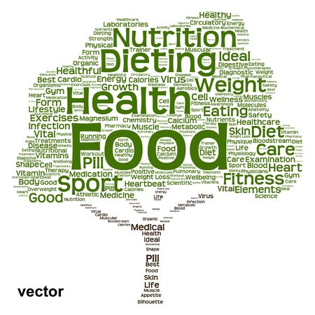 Conceptual health diet or nutrition tree word cloud isolated on background Vector